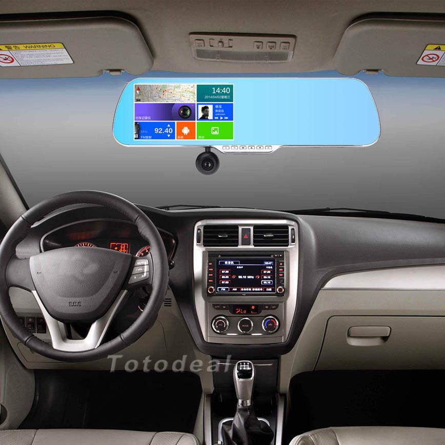 Allwinner A10 Android 4.0.3 зеркало заднего вида автомобильный видеорегистратор 5.0 '' с двумя объективами 1080 P Full HD + 720 P Wifi GPS навигации двойная камера