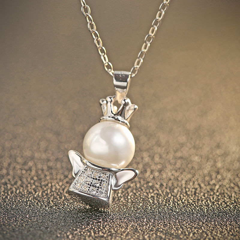 Pendant crown silver with pearl