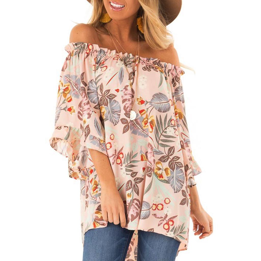 Back To Search Resultswomen's Clothing Youyedian Large Size Off Shoulder Shirts Summer Fashion Ladies Puff Sleeve Bow Bandage Blouse Sexy Slash Neck Full Sleeve Blouse
