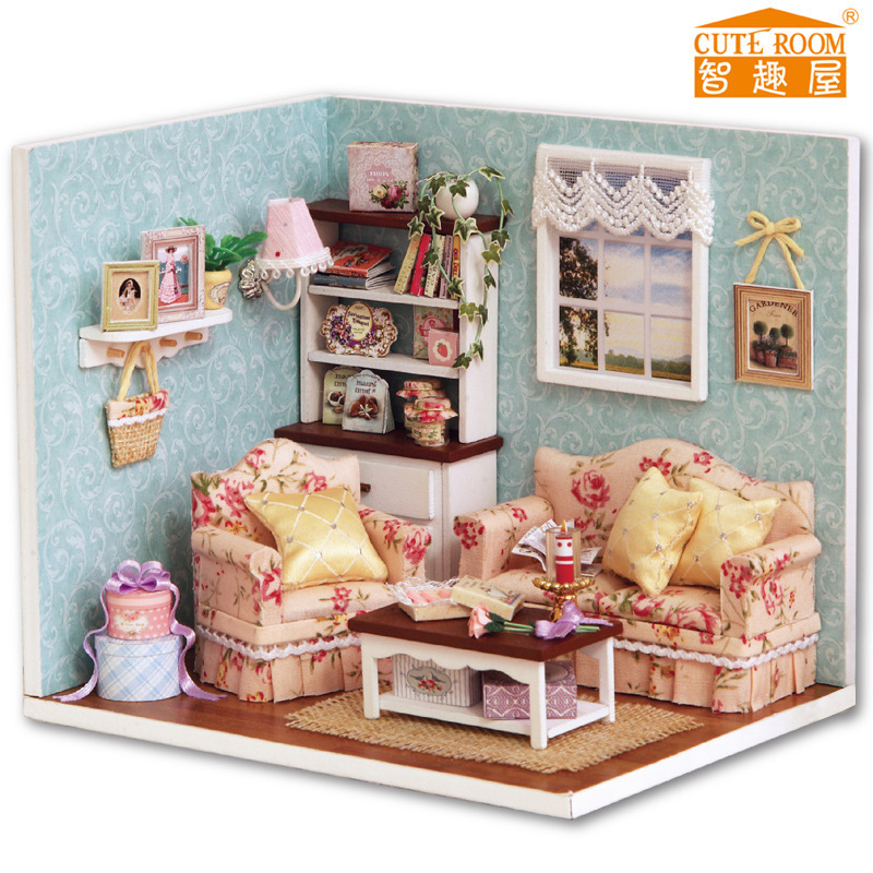 Free Shipping DIY Doll House Miniature Wooden Dollhouse