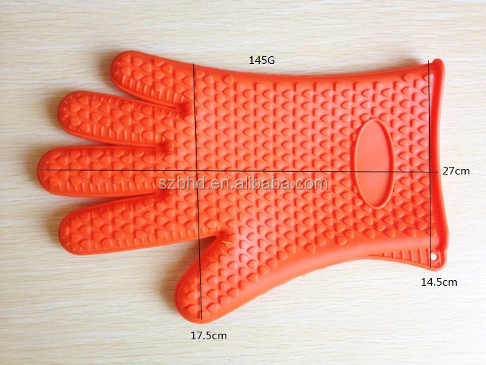 BBQ Baking Silicone Gloves Heat Resistant Oven Silicone Gloves with fingers