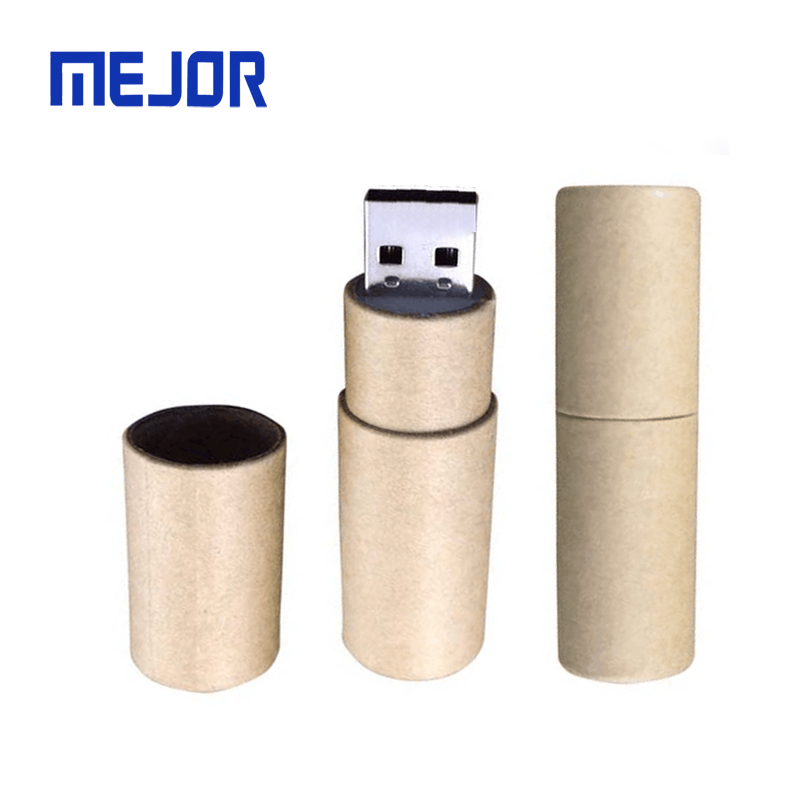 Environmental carbon fiber pendrive legno tube flash drive 16GB Cylindrical Kraft paper Wooden USB - USBSKY   USBSKY.NET