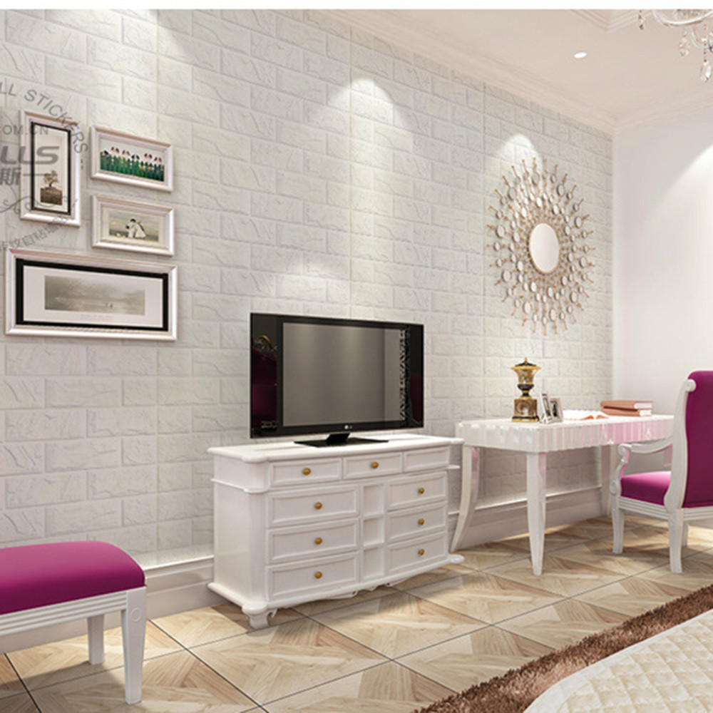 Living Room Background Animated: Wholesale 2016 New White 3d Modern Design Brick Wallpaper