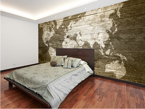 Custom Texture Wallpaper,World Map On Wood,3D Wallpaper
