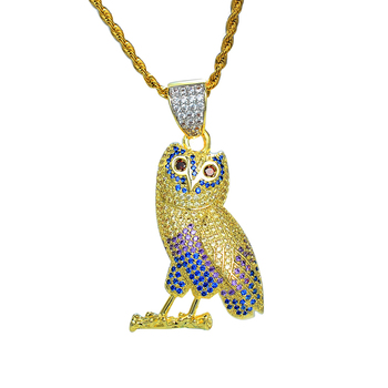 Fashion Iced Out Animal Bird Pendant Gold Plating 925 Sterling Silver Owl Necklace Pendant