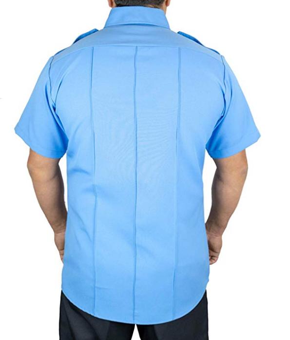 Заводская цена OEM 100% полиэстер Мужская Униформа с коротким рукавом светло-голубая для охранника