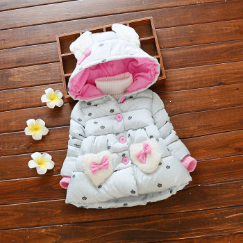 Hao Baby The New Winter Coat Children's Wear Cotton-Padded Jacket Clothes Pocket Love Candy Color Coat