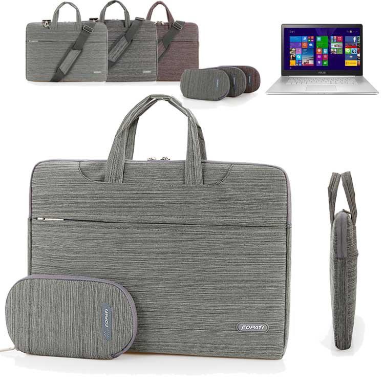 15.6'' Laptop Shoulder Messenger Bag, Fabric Business Computer Carrying Case Briefcase For Asus ZenBook NX500/ Pro UX501