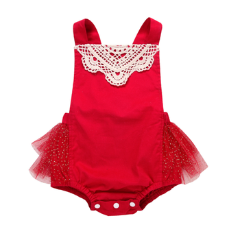 Hot Selling Baby Christmas Rompers Baby Girls Red Lace Rompers Infant Toddlers Lovely Wear Clothes
