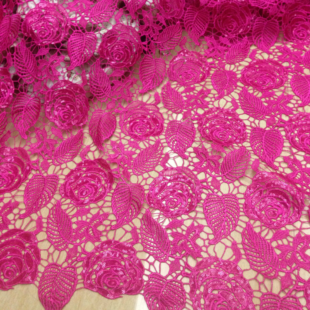 120CM Width Hot Pink african cord lace fabric guipure lace ...