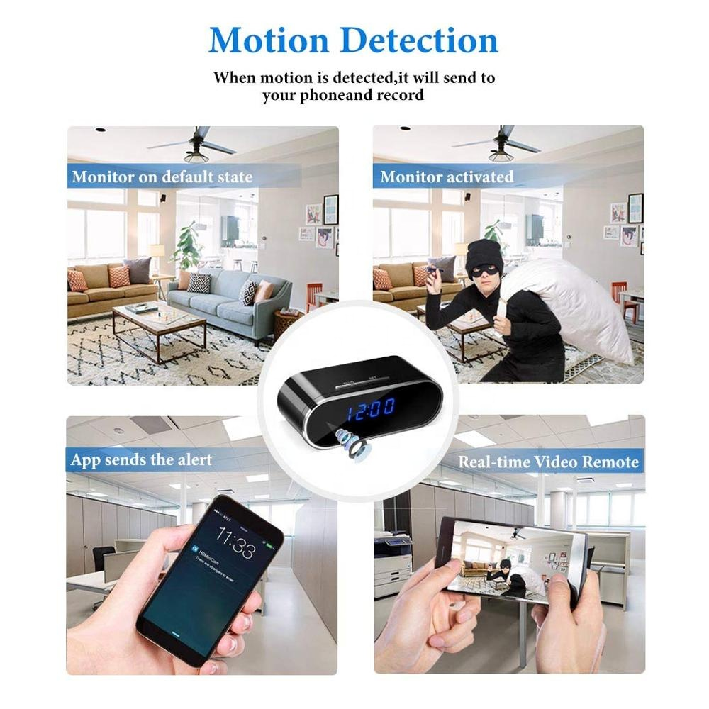 Беспроводные настольные часы с ИК ночным видением, мини-видеорегистратор, видеокамера с дистанционным управлением через приложение, 1080P, Wi-Fi камера, будильник