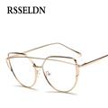 RSSELDN Newest optical glasses frame women Cat Eye eyeglasses large Metal optical frame clear glasses Men