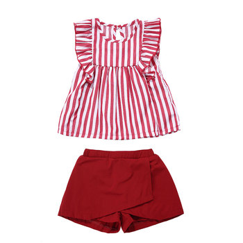 Fancy children two piece clothes striped top and shorts clothing set