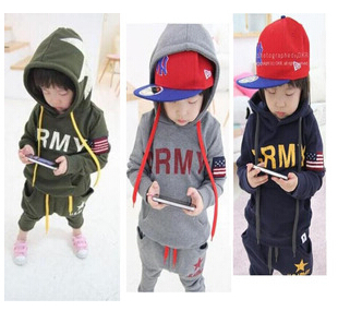 2015 New children autumn clothing set boys sports suits kids outfits baby clothes big eyes fashion