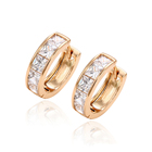 29255 xuping fashion earrings for women, latest design 18k gold plated jewelry, diamond stone gold hoop earring women