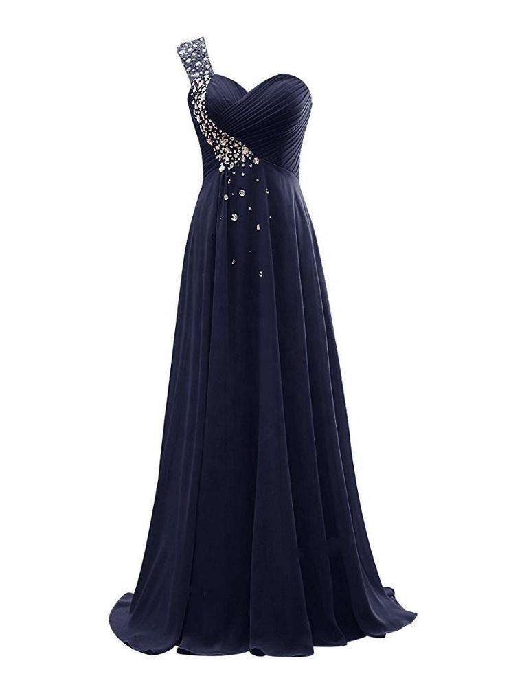 One Shoulder Beaded Long Women's Plus Size Chiffon Dresses Cheap Wholesale Yellow/White/Burgundy/Blue/Purple Bridesmaid Dresses