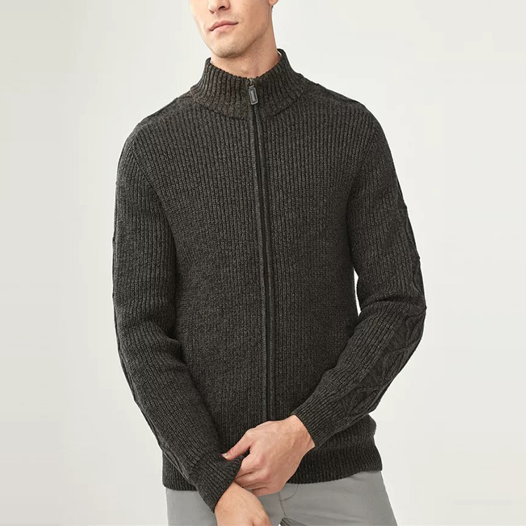 Fashion Pure Color Thick Knit Full Zip Cardigan Mens