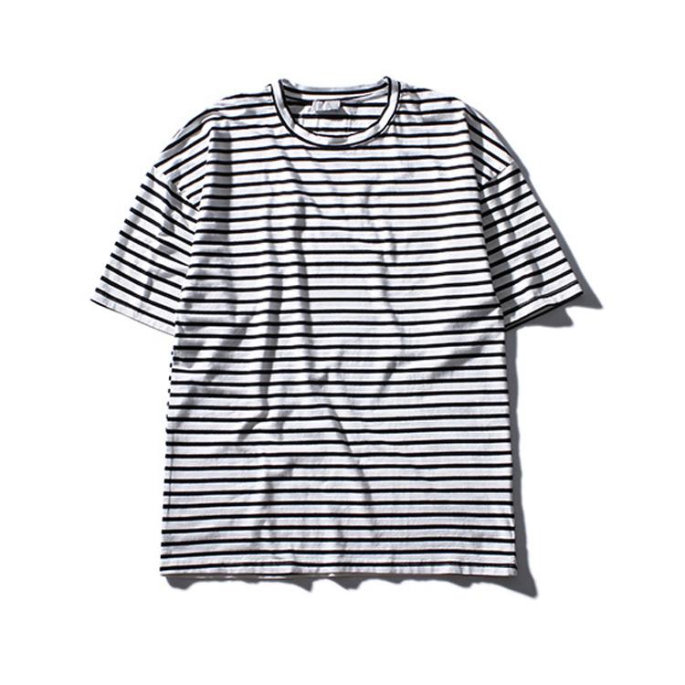 Футболка мужская свободного кроя, повседневная Удлиненная рубашка, в черно-белую полоску, двухцветная, оверсайз, на лето