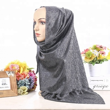 2018 new style Low MOQ muslim women scarf with gold sliver line purl shawls hijab