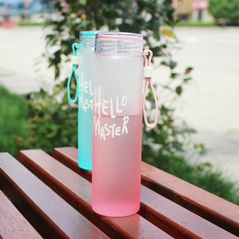 amazon top seller 2019 hello master creative color portable frosted water bottle with rope private label bpa free