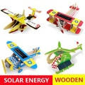Solar Energy Powered Education Toys little Gift For Children Wooden Airplane 11 Styles for Choice Safety