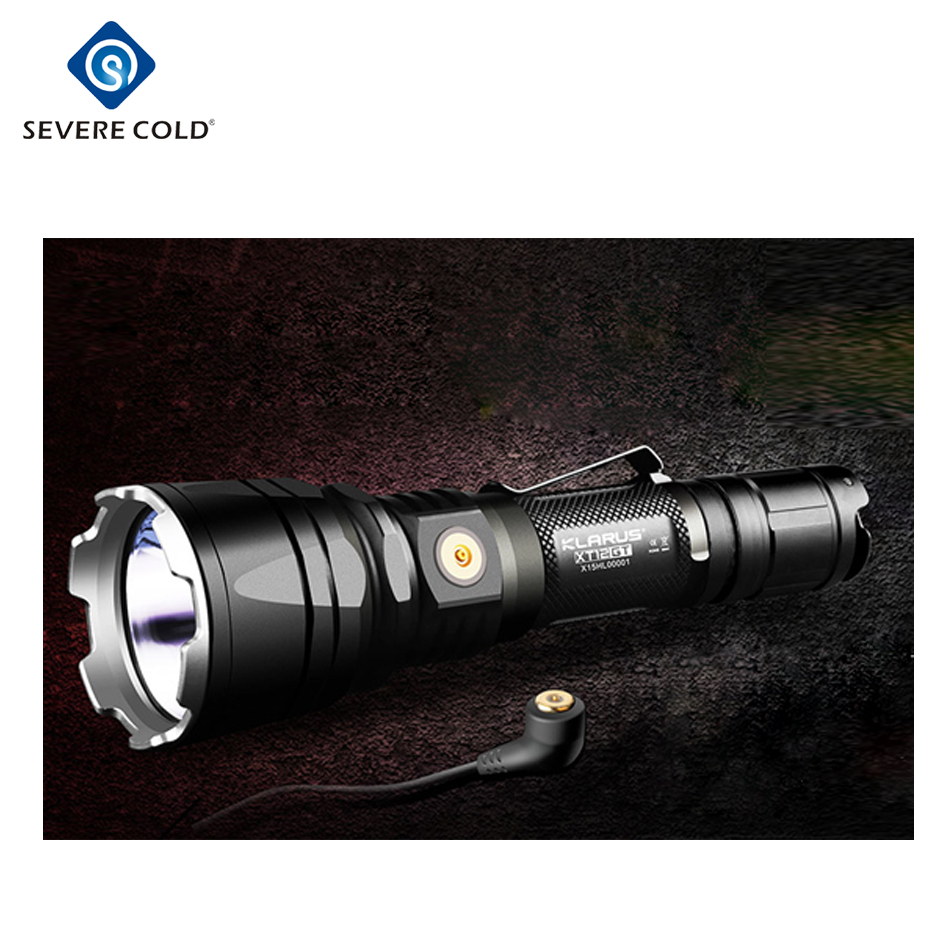 klarus xt12gt 1xcree led xhp35 hi d4 1600 lumens waterproof tactical flashlight usb charging torch by 3600 mah 18650 battery buy usb sarj mesale su gecirmez taktik el feneri klarus xt12gt product on