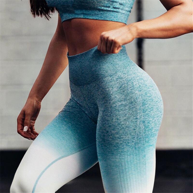 Seamless Leggings High Waist Ombre Yoga Pants Workout Gym Leggings Scrunch Butt Gradient Sport Yoga Leggings