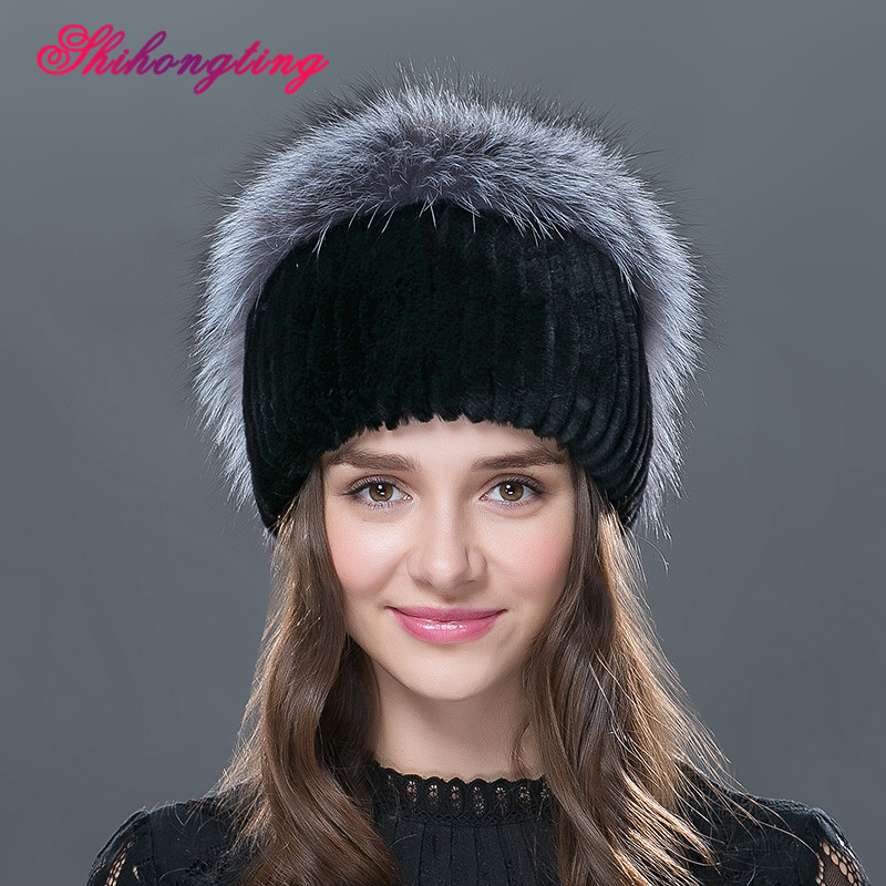 6ecd7dd91a460 2016 Elegant Real Fur Skullies Beanies For Women Decorative Chain Hedging  Cap Rabbit Fur Thicken Hat