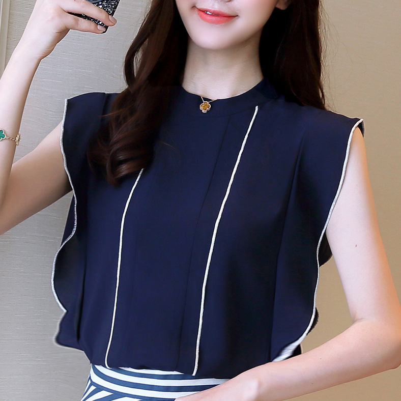 2018 Summer Stand collar sleeve chiffon shirt women's new women ruffle fashion pullover blouse