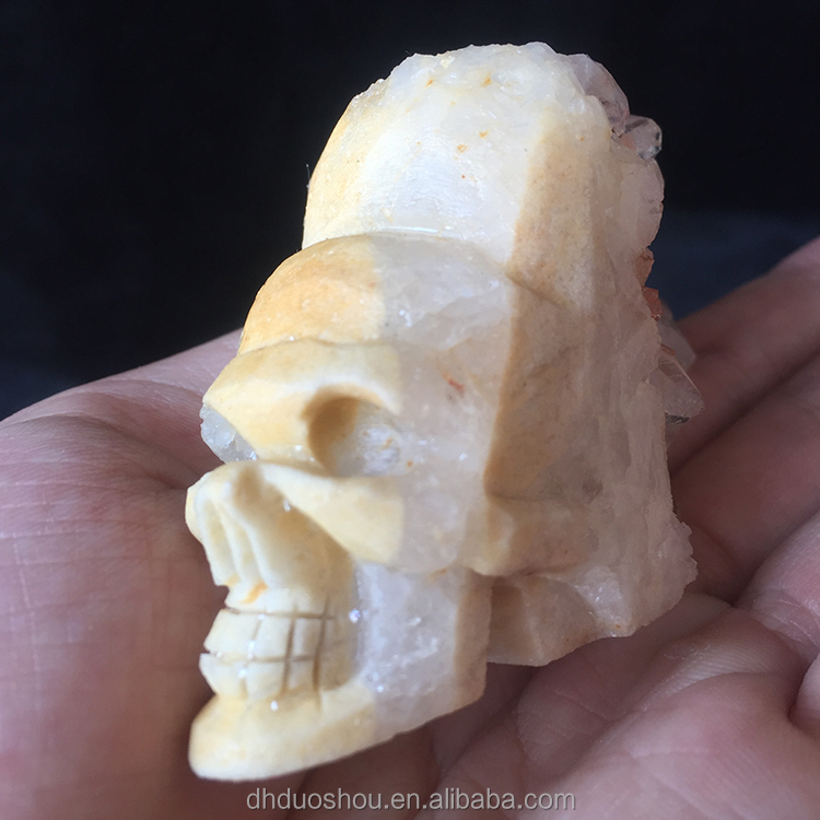 Wholesale natural quartz hand carved crystal skull with white cluster hair for sale