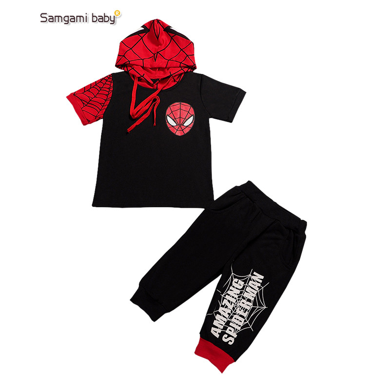 2016 new Comic Classic Spiderman Child Costume boys clothing sets kids short sleeve t shirt short