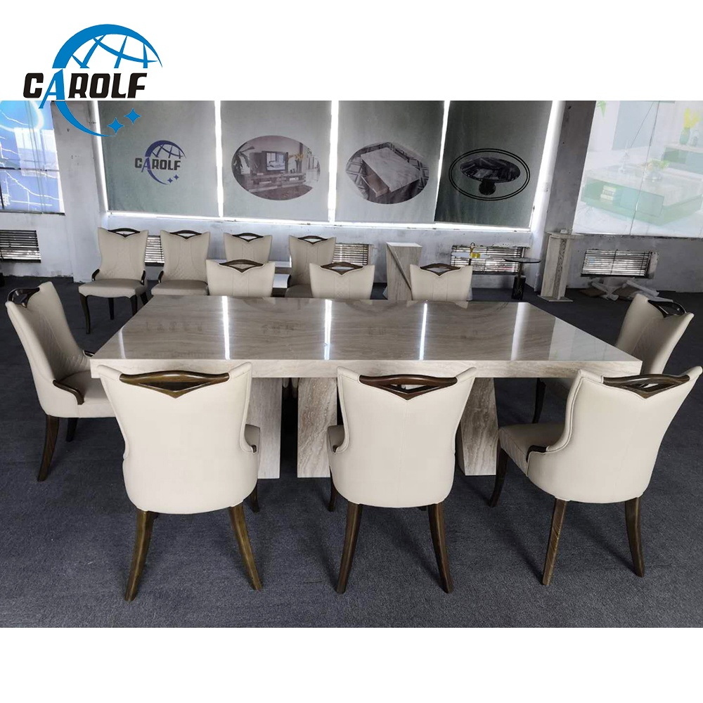 New Arrival Luxury 9 Seater White Marble Dining Table Set Online ...