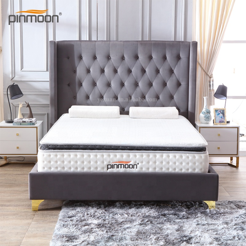 Guangdong factory of modern double fabric upholstery bed