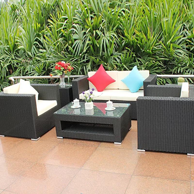 Современная уличная мебель ручной работы, набор садовых диванов из ротанга