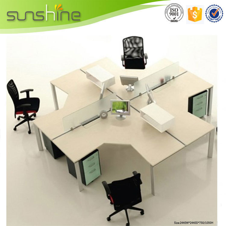 Office Table For 4 Person: T Shade Office Partition Screen 4 Person Compact Computer