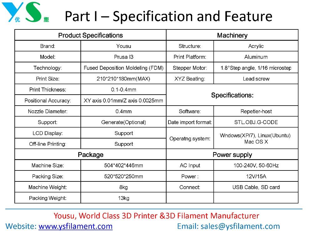 Yousu Высокое Качество DIY Prusa I3 3d-принтер низкая цена рабочего стола 3d принтер машина для домашнего использования 8 ГБ SD карты Оптовая продажа, изготовление, производство