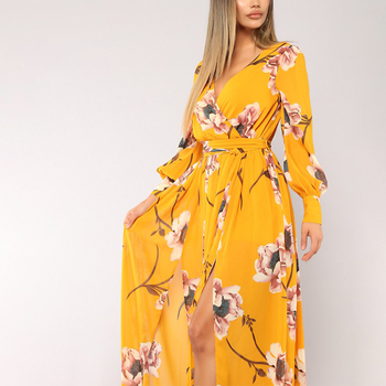 Guangzhou Factory Design Autumn Winter Casual Yellow V Neck Long Sleeve Maxi Dress Women With High Split