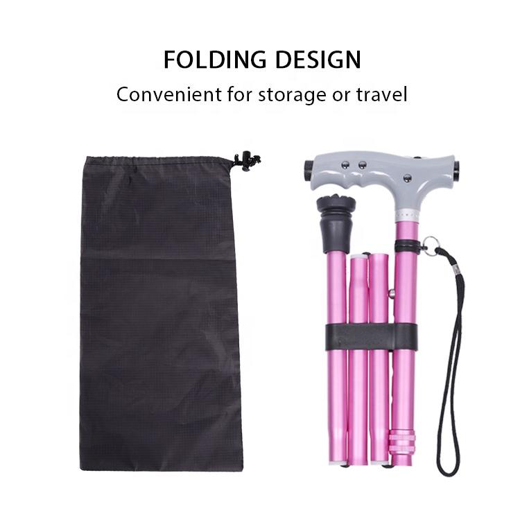 High Quality Single Base ABS Handle Folding Aluminium Walking Cane Stick