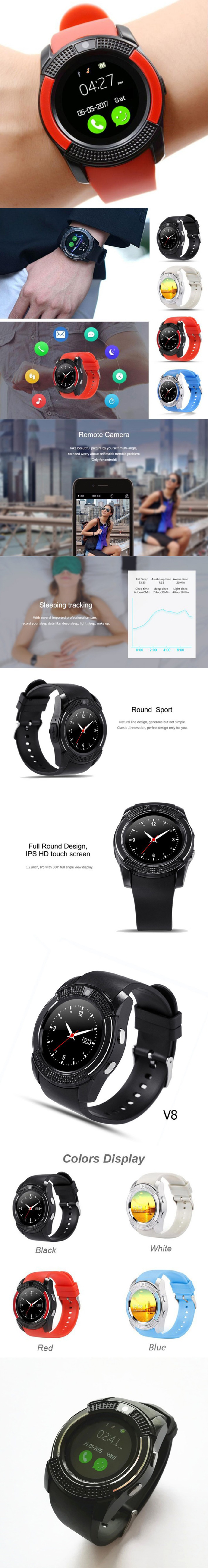 V8 Smart Watch Barcelet Full HD IPS Waterproof Wristband Bluetooth Black