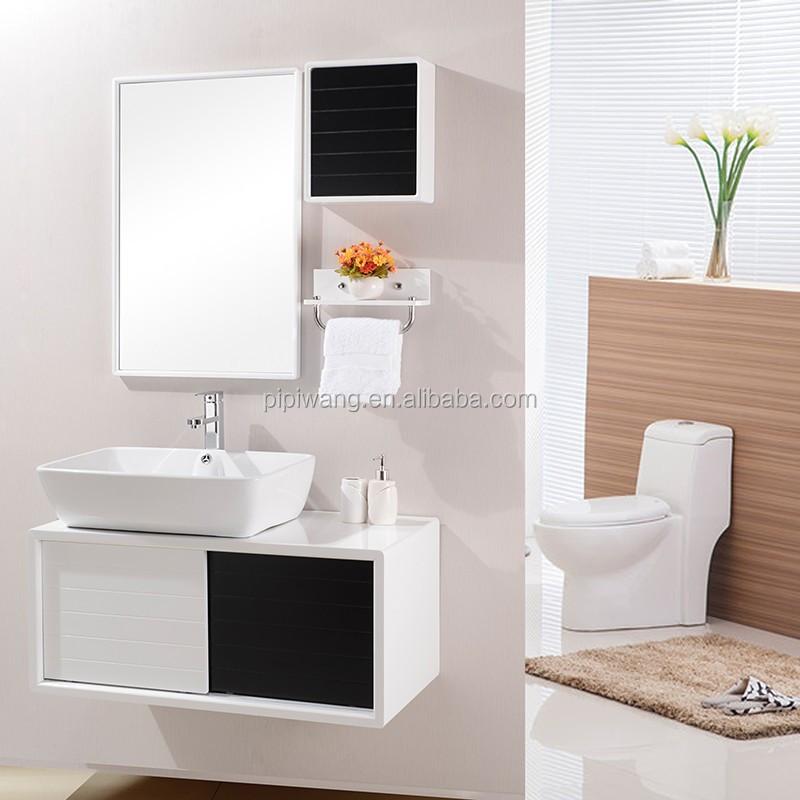 haute qualit 90 cm noir suspendus pvc salle de bains meuble lavabo h05061 autres meubles de. Black Bedroom Furniture Sets. Home Design Ideas