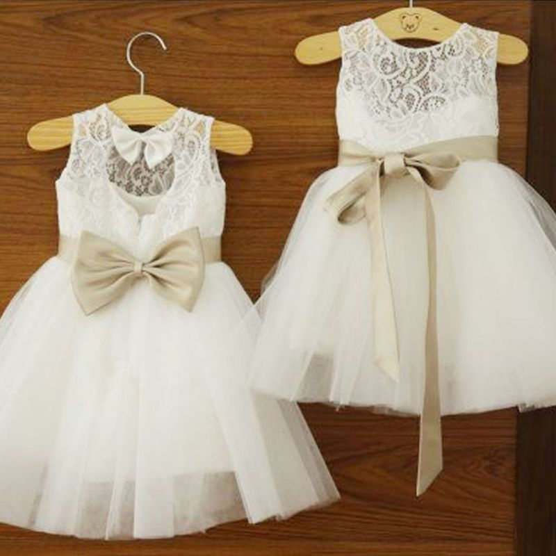 522f9634e Girls Baby Princess Wedding Party Bowknots Tulle font b Dress b font Lace  White font b