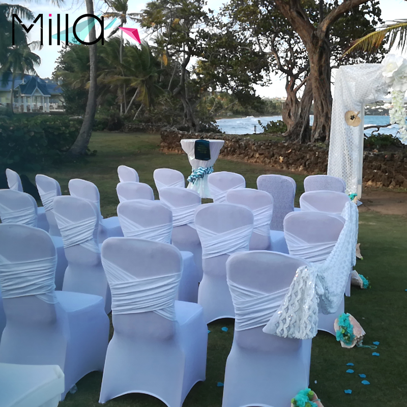 Elegant Spandex Chair Cover with Criss-cross Design at The Back