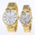 RINNADY Brand New Fashion Male Female Couples Stainless Steel Gold Watches Welcome Custom Logo MW-205