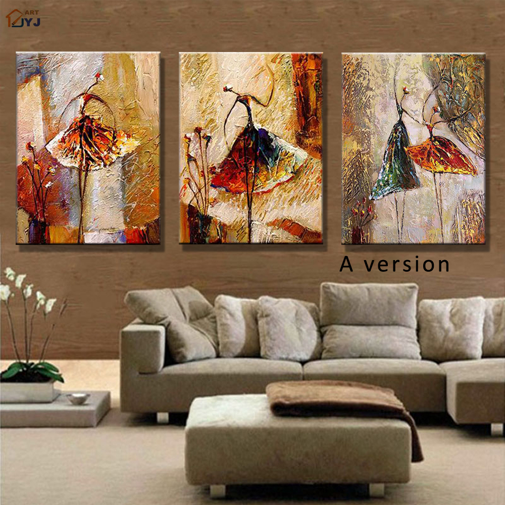 Ballet dancer picture hand painted modern abstract oil - Modern wall decor for living room ...