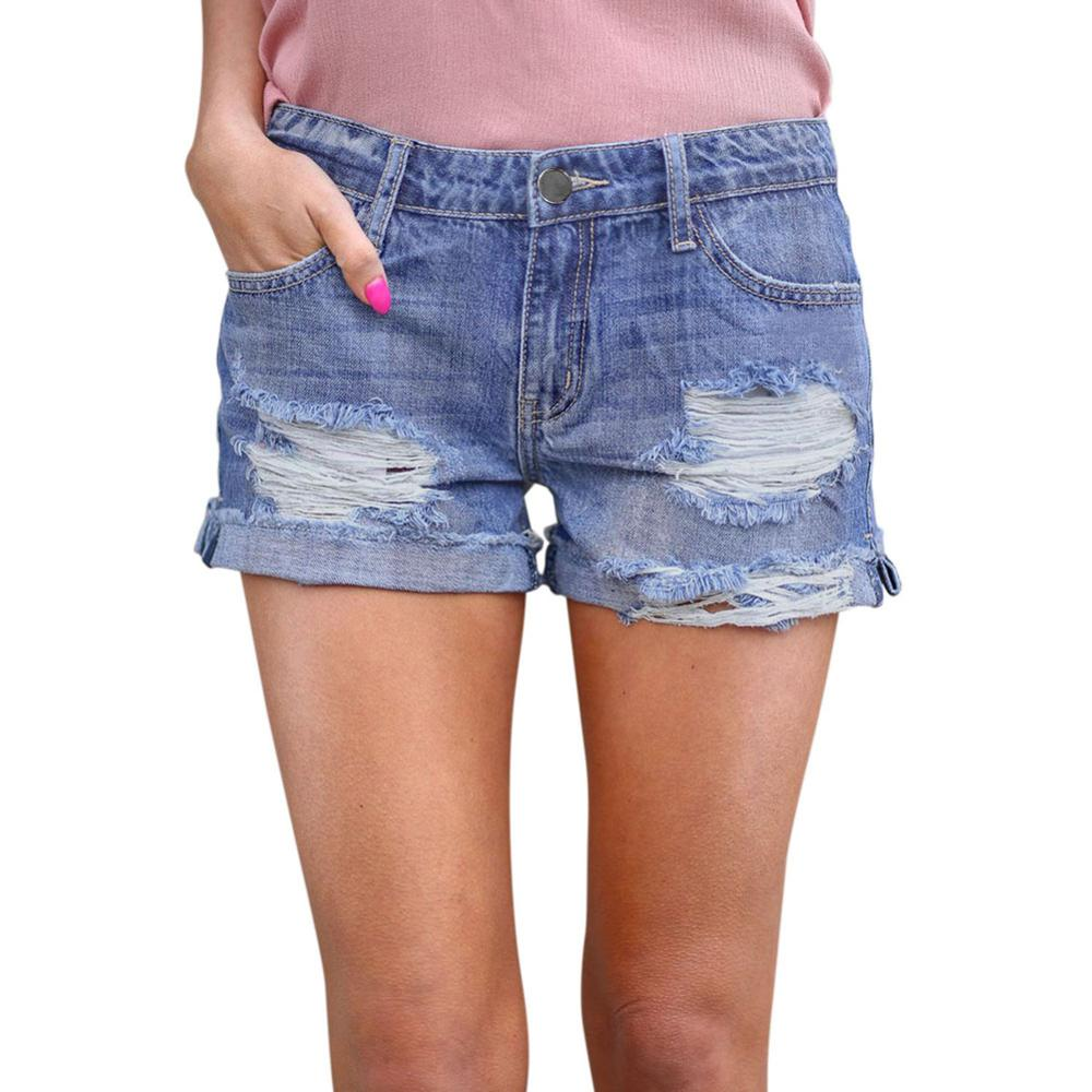 Womens Stretchy Shorts Jeans Mid Rise Ripped Denim Shorts