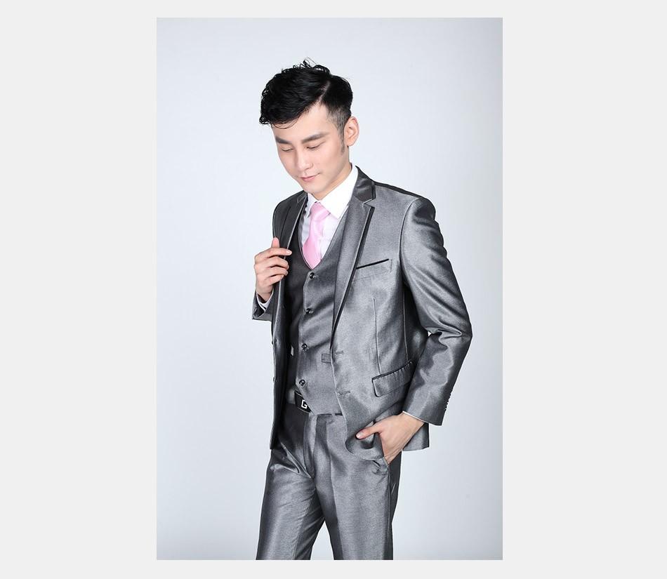 ac0a3659bba070 2019 Wholesale Jacket+Pant+Tie Mens Bright Grey Black Suits Men ...