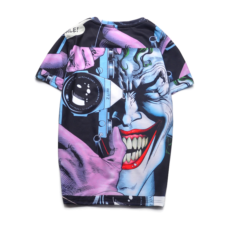 Top Quality Printed 3d T Shirts Novelty Joker Design Summer Cartoon