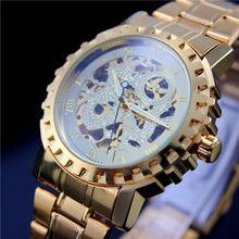 Часы мужские, 2016, лучшие, Роскошные, брендовые, золотые, механические, ручные, с ремешком из стали(Китай)