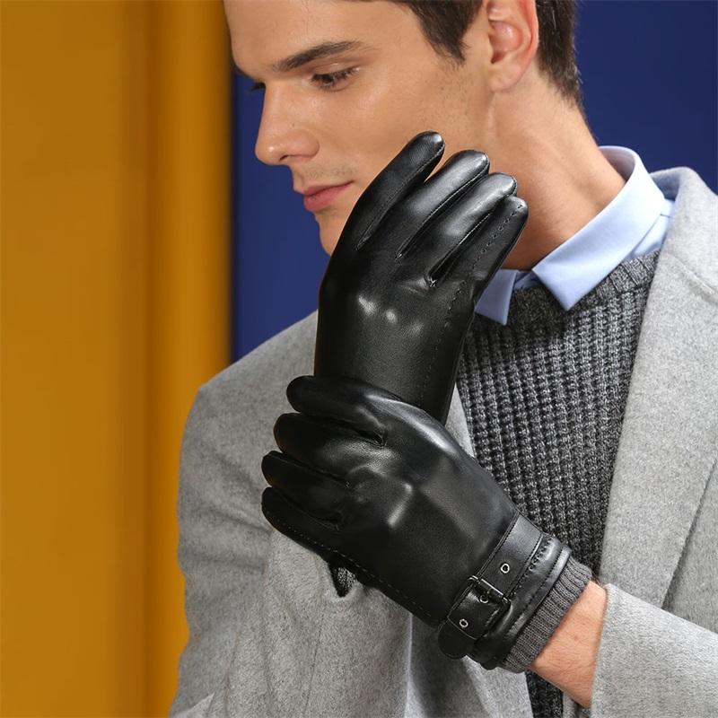 2018 Men Winter Gloves Genuine Sheep Leather Gloves Short Design Touch Screen