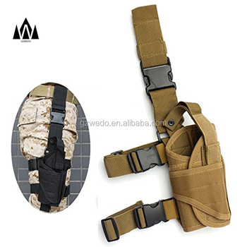 Adjustable Tactical Army Pistol Pouch Holder Gun Bag Drop Leg Holster for Right Drop Leg